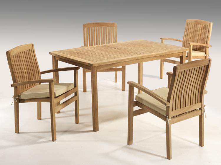 Juego de comedor de teka para exteriores mesa 4 sillas for Muebles madera teca