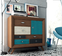 Aparador Vintage AU100 - Aparador 1 puerta, 6 cajones Vintage, fabricado en madera de alta calidad, excelentes detalles.