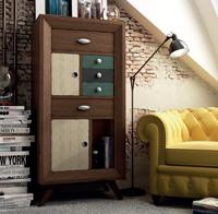 Mueble auxiliar AU120 Vintage - Mueble auxiliar AU120 Vintage 2 puertas 5 cajones, fabricado en madera de alta calidad, excelentes detalles.