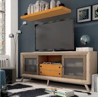 Mesa de TV Vintage B220 - Mesa de TV, 2 puertas correderas + 2 cajones Vintage B220, fabricado en madera de alta calidad, excelentes detalles.