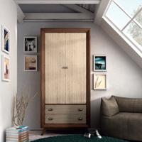 Armario Vintage V103 - Armario 2 puertas grandes, 2 cajones Vintage, fabricado en madera de alta calidad, excelentes detalles.
