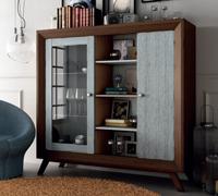 Vitrina + Estante Vintage V701 - Vitrina 2 puertas 3 estantes Vintage, fabricado en madera de alta calidad, excelentes detalles.