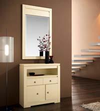 Consola y espejo de chapa Cerezo  7 - Espaciosa consola y espejo. Chapa de Cerezo
