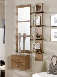 Consola, espejo y estantería 29 - Consola, espejos y estantería de chapa de Roble