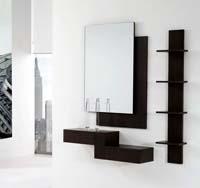 Consola, estantería y espejos 35 - Consola, estantería y espejos de chapa de Roble