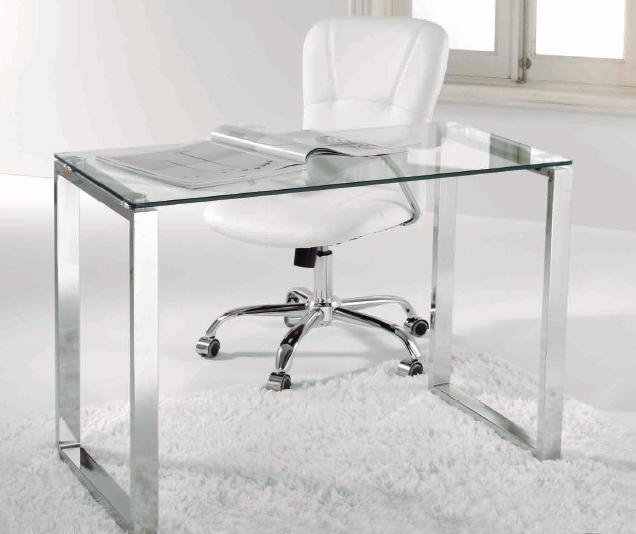 Mesa de escritorio metal y cristal transparente - Mesa de cristal para despacho