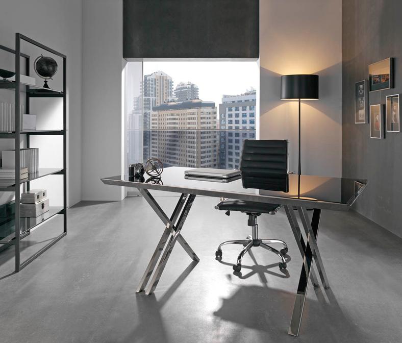 Mesa escritorio acero cristal moderna for Mesa escritorio moderna