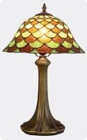 Lámpara Tiffany color otoñal 2 - Lámpara de sobremesa con diseño de escamas de tonos otoñales