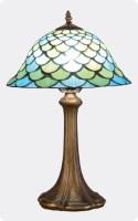 Lámpara Tiffany azul y verde 2 - Lámpara de sobremesa con diseño de escamas de color azul y verde