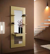 Consola y espejo de chapa Roble 24 - Consola y espejo con estante integrados.
