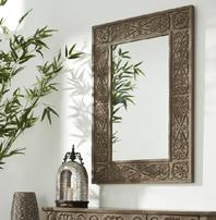Espejo de madera tallada natural - Espejo rectangular de madera tallada