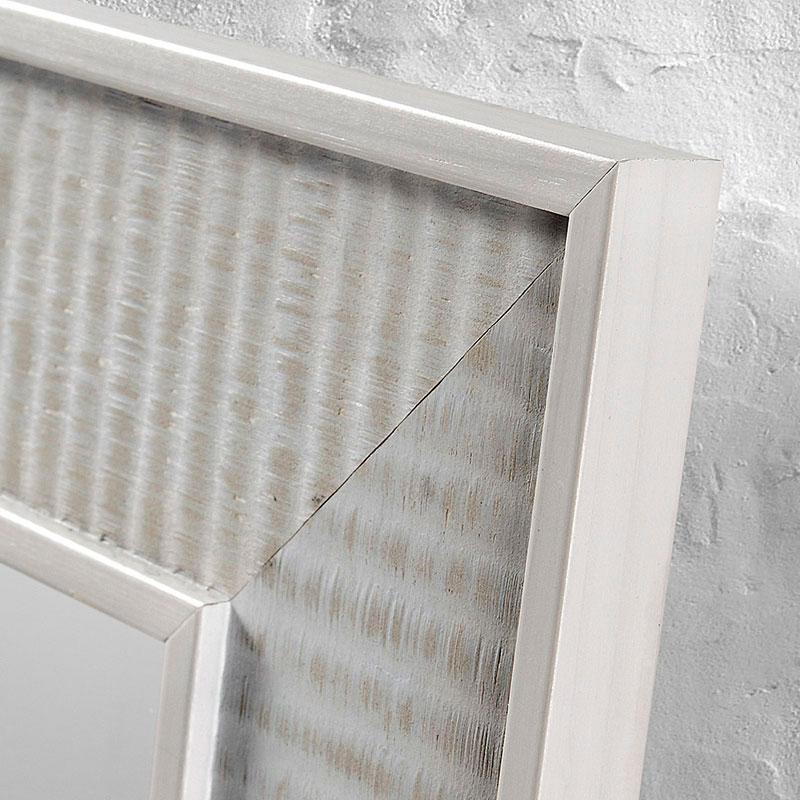Mia home espejo con madera gris o blanco for Espejos con marco de madera blanco