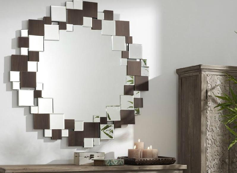 Espejos composici n cuadros con madera espejos redondos for Espejos de pared madera