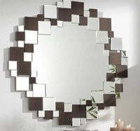 Espejos cuadros con madera redondo - Espejo composición cuadros Forma rendonda