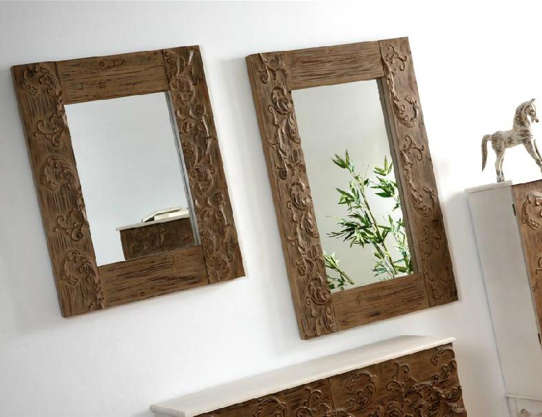 Espejo madera natural tallada for Espejos de pie en madera