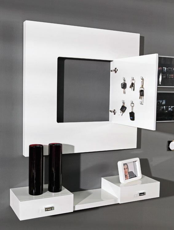 Consolas dos cajones repisa estanter a espejo con llavero for Espejo con repisa para bano