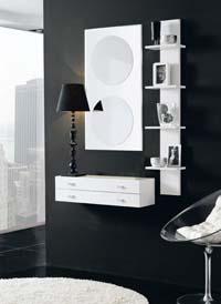 Consola, espejo y estantería 28 - Consola, espejos y estantería de chapa de Roble
