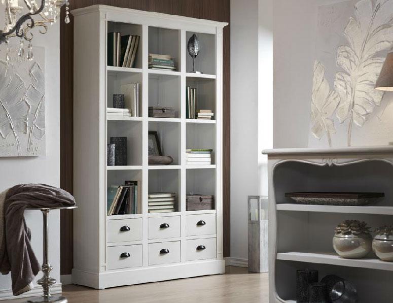 biblioteca estanteria blanca de madera