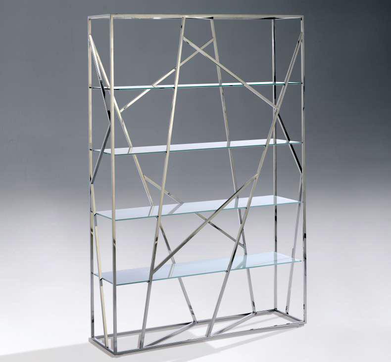 Estanteria cromada de cristal - Estanterias de cristal para banos ...
