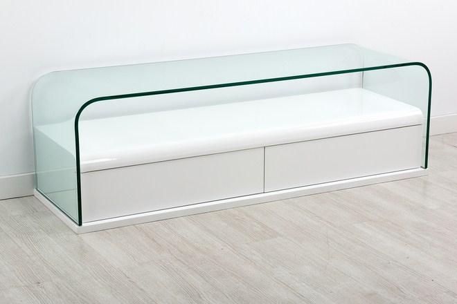 Mesa de tv moderna for Muebles de cristal para tv