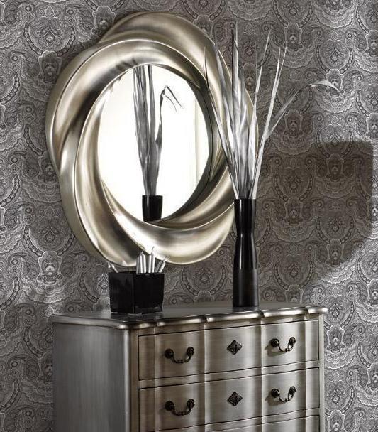 Espejo redondo con marco de poliresina - 95 cm diámetro