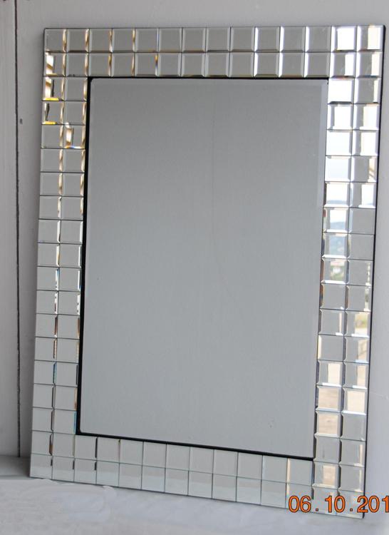 Espejo veneciano marco cuadritos cristal for Espejo marco cristal