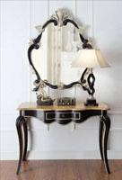 Recibidor y espejo estilo clásico - Recibidor de madera y espejo de poliresina
