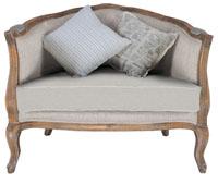 Sofá de madera de roble - Tapizado en tela cruda
