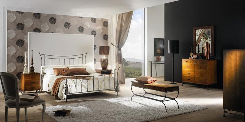 Cabecero y cama de forja  Florencia - Cabecero y cama de forja de formas recta Florencia