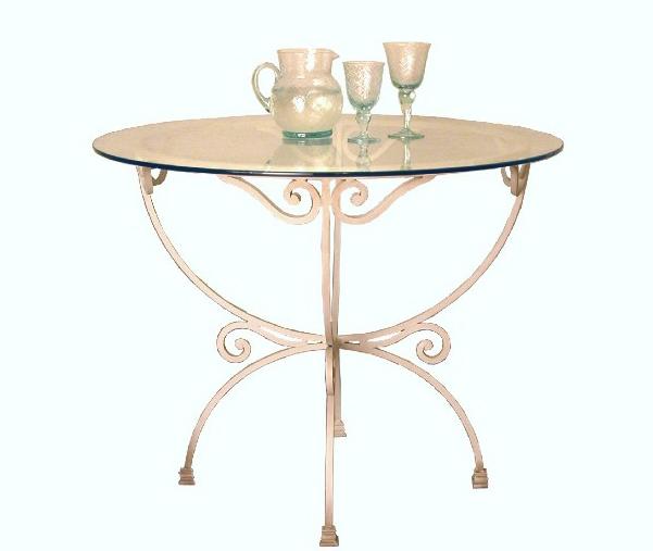 Mesa comedor redonda forja con cristal oferta espa a - Mesa comedor cristal redonda ...