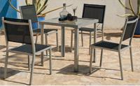 Set sillas y mesa estructura aluminio modelo PERSEO - Set sillas y mesas con estructura de aluminio modelo PERSEO