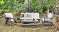 Set sofás y mesa de lujo para exteriores 10 - Conjunto muebles médula sintética para intemperie