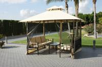 Gazebo de acero y set de sofás - Estructura a prueba de viento