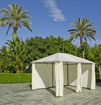Gazebo de acero con cortinas - Estructura a prueba de viento