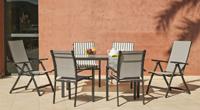 Set mesa, sillones y tumbonas de aluminio 1 - Mesa desmontable, tumbona 5 posiciones, sillón apilable
