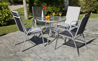 Set sillones y mesa acero exteriores 1 - Sillones/tumbonas con altura regulable de 5 posiciones.