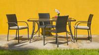 Mesa y sillones rattan para exteriores 10 - Sillones apilables, mesa rectangular o redonda reforzada