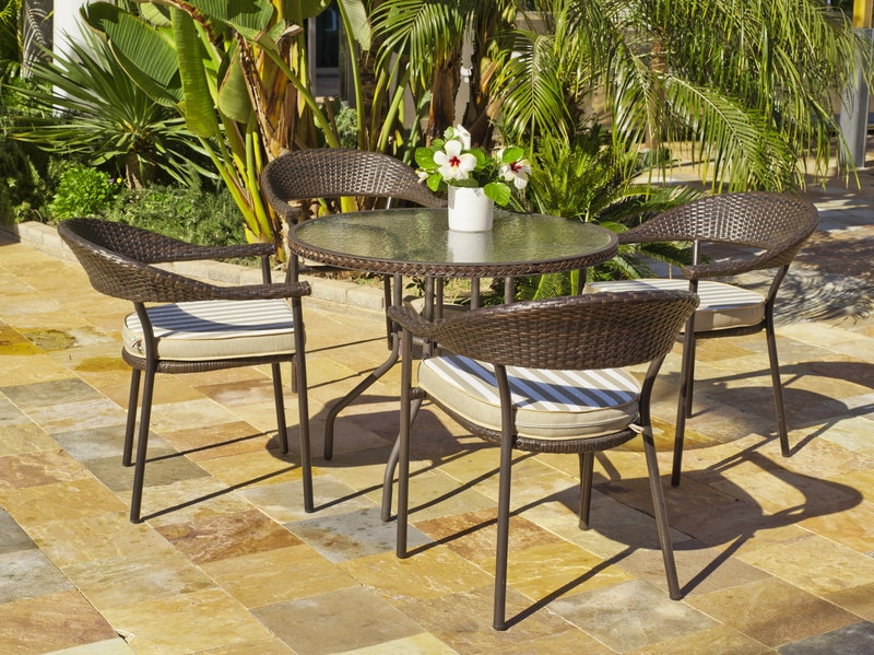 set mesas y sillones rattan exteriores apilable