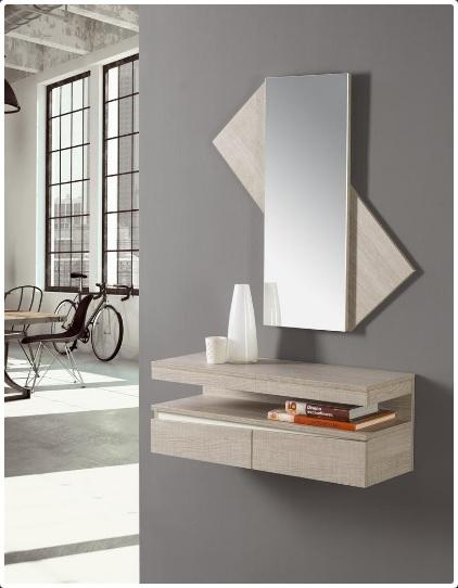 Recibidor y espejo 125 - Mueble recibidor y espejo para entrada 125-115