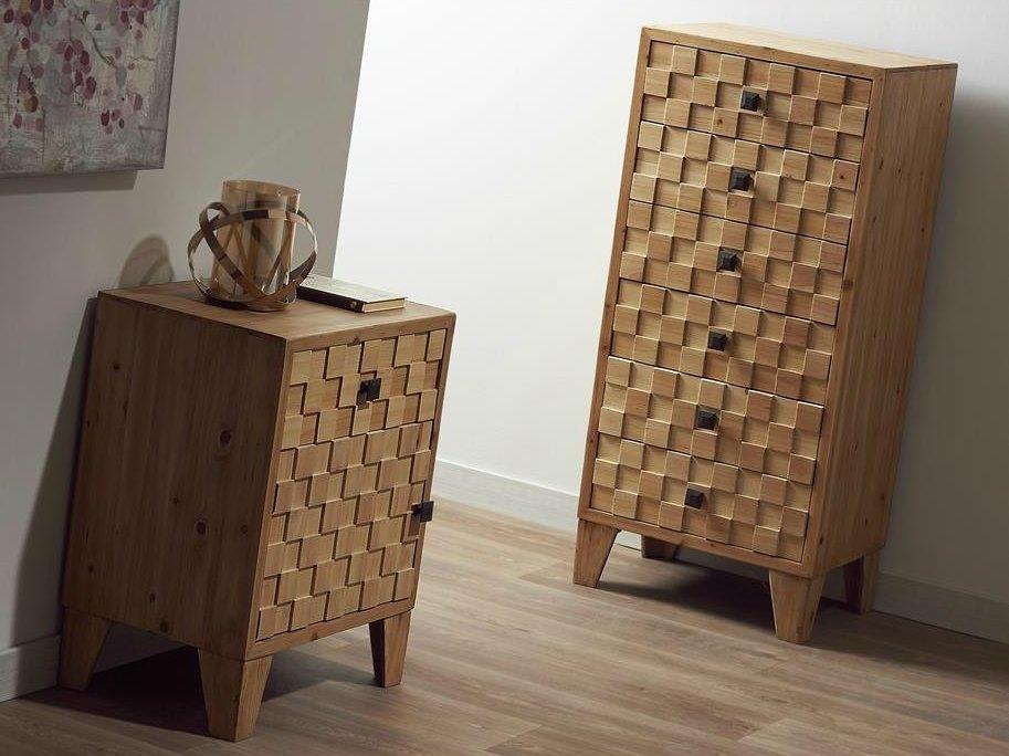 Mesilla de noche y Chifonier modelo IZAN - Mesilla y chifonier pequeño de madera natural