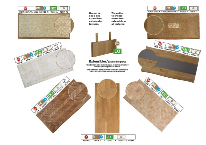 Mesa de comedor redonda con tapa de robre - Mesa de comedor con tablero en madera de robre tipo mobila y patas de cristal