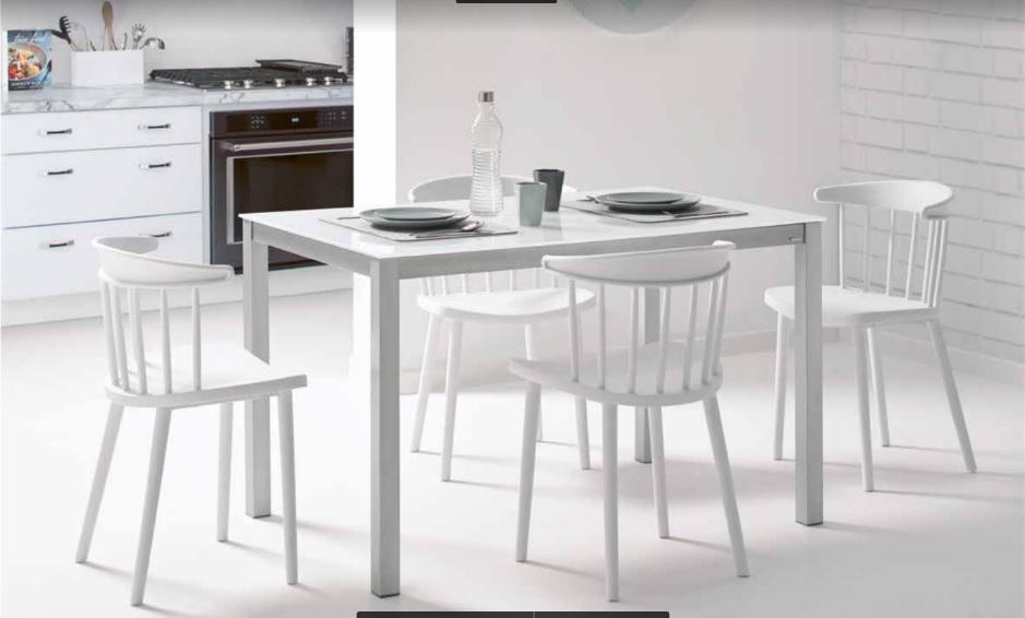 Mesa cocina Aida fija 80 cm - Mesa aluminio y cristal Aida 80