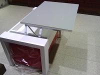 Mesa de centro con tablero elevable y puffs 2 - Mesa de centro con tablero elevable y puffs 2