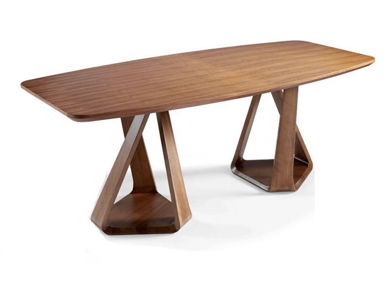 Mesa DT803 GRAN - Mesa DT803 GRAN, Mesa de comedor de dos bases de madera maciza curvada color nogal con tapa de madera chapada en nogal