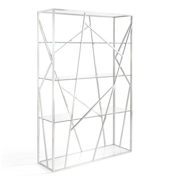 Estanteria F6089 - Estanteria F6089, Estantería con estructura de acero inoxidable y baldas de cristal templado