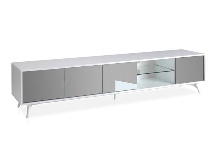 Mesa de TV 1403F-BLANCO - Mesa de TV 1403F-BLANCO, Mueble TV de madera lacada y puertas con frontales de espejo gris