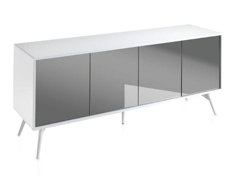 Aparador 1403M-BLANCO - 1403M-BLANCO, Aparador de madera lacada con puertas con frontal de espejo gris