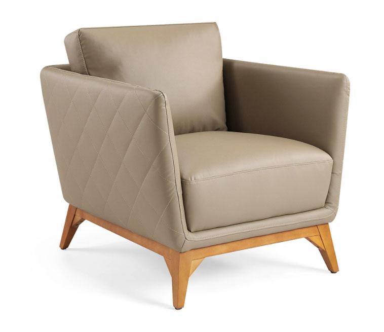 Sillón 1961-1P - Sillón 1961-1P, Sillón tapizado en piel con patas en madera de Nogal