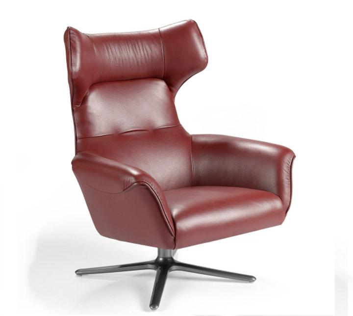 Sillón A1021 - Sillón A1021, Sillón giratorio tapizado en piel con patas de acero inoxidable