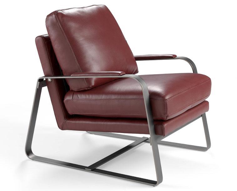 Sillón A1061 - Sillón A1061, Sillón tapizado en piel con patas de acero inoxidable pulido